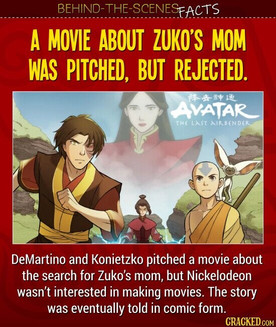 A MOVIE ABOUT ZUKO'S MOM WAS PITCHED, BUT REJECTED DeMartino and Konietzko pitched a movie about the search for Zuko's mom, but Nickelodeon wasn't interested in making movies. The story was eventually told in comic form.