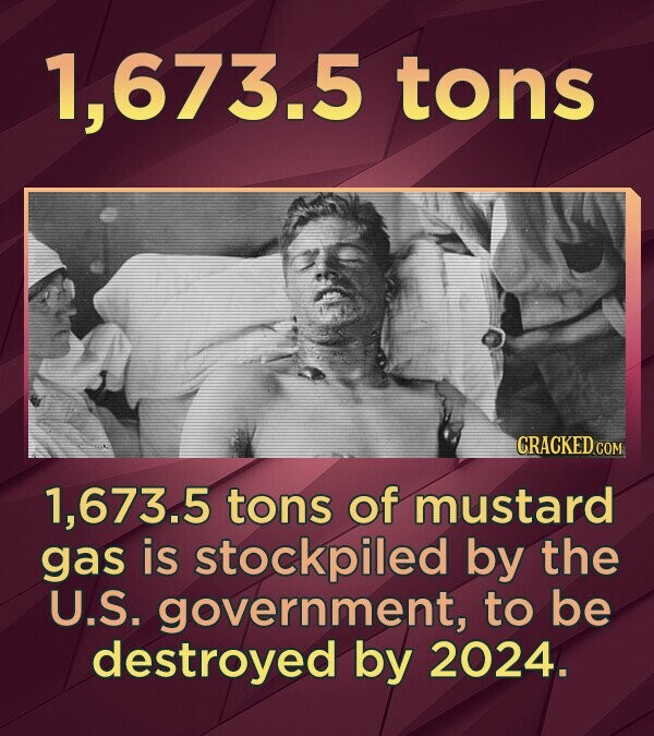 1,673.5 tons 1,673.5 tons of mustard gas is stockpiled by the U.S. government, to be destroyed by 2024.