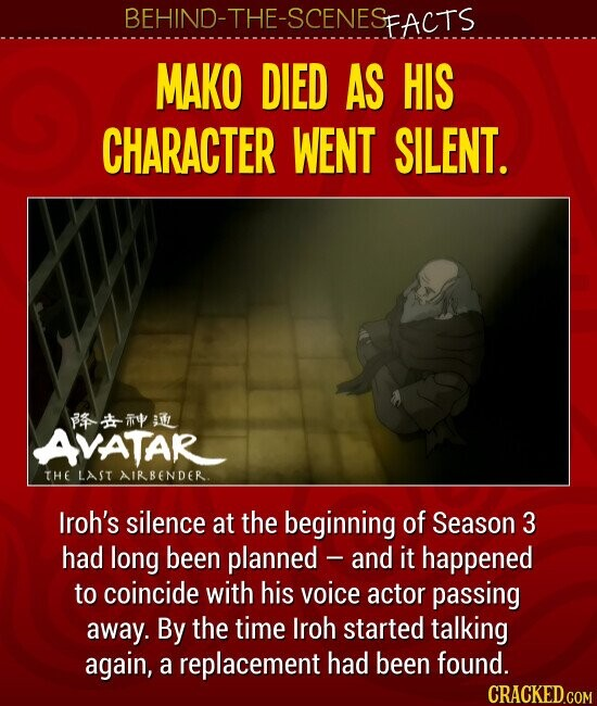 MAKO DIED AS HIS CHARACTER WENT SILENT Iroh's silence at the beginning of Season 3 had long been planned - and it happened to coincide with his voice actor passing away. By the time Iroh started talking again, a replacement had been found.