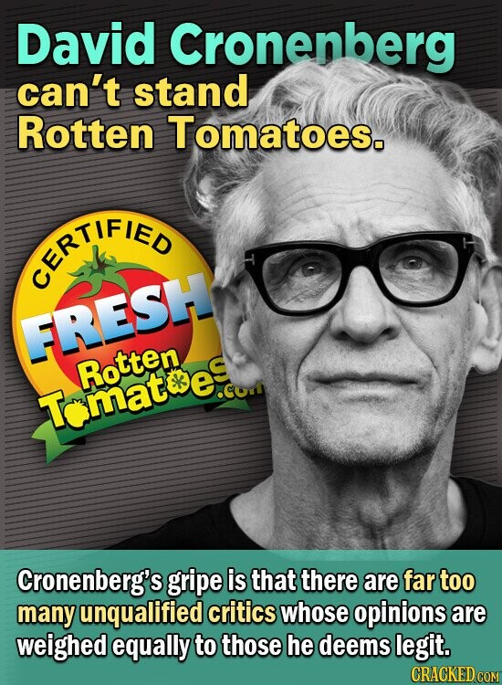 nberg David can't stand Rotten Tomatoes. CEFAFIED ERESH Rotten e. S Tomat Cronenberg's gripe is that there are far too many unqualified critics whose opinions are weighed equally to those he deems legit. CRACKED COM