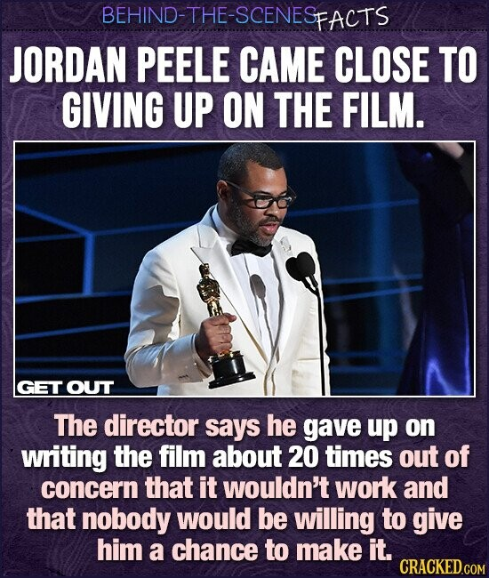 BEHIND-THE-SCENESP FACTS JORDAN PEELE CAME CLOSE TO GIVING UP ON THE FILM. GET OUT The director says he gave up on writing the film about 20 times out of concern that it wouldn't work and that nobody would be willing to give him a chance to make it. CRACKED.COM