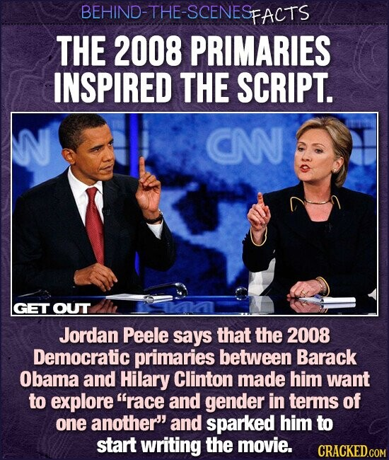 BEHIND-THE-SCENESP PFACTS THE 2008 PRIMARIES INSPIRED THE SCRIPT. N CN GET OUT Jordan Peele says that the 2008 Democratic primaries between Barack Obama and Hilary Clinton made him want to explore race and gender in terms of one another and sparked him to start writing the movie. CRACKED.COM