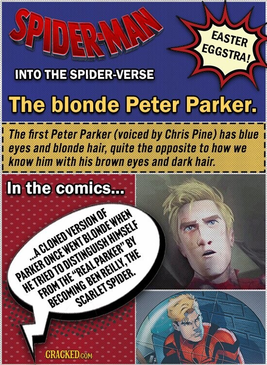 SPIDERAMA EASTER EGGSTRA! INTO THE SPIDER-VERSE The blonde Peter Parker. The first Peter Parker (voiced by Chris Pine) has blue eyes and blonde hair, quite the opposite to how we know him with his brown eyes and dark hair. In the comics... WHEn VERSIONOF HIMSELF BY A CLONED WENTBLONDE y