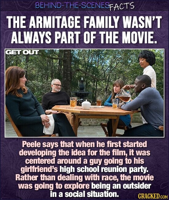 BEHIND-THE-SCENESP PFACTS THE ARMITAGE FAMILY WASN'T ALWAYS PART OF THE MOVIE. GET OUT Peele says that when he first started developing the idea for the film, it was centered around a guy going to his girlfriend's high school reunion party. Rather than dealing with race, the movie was going to