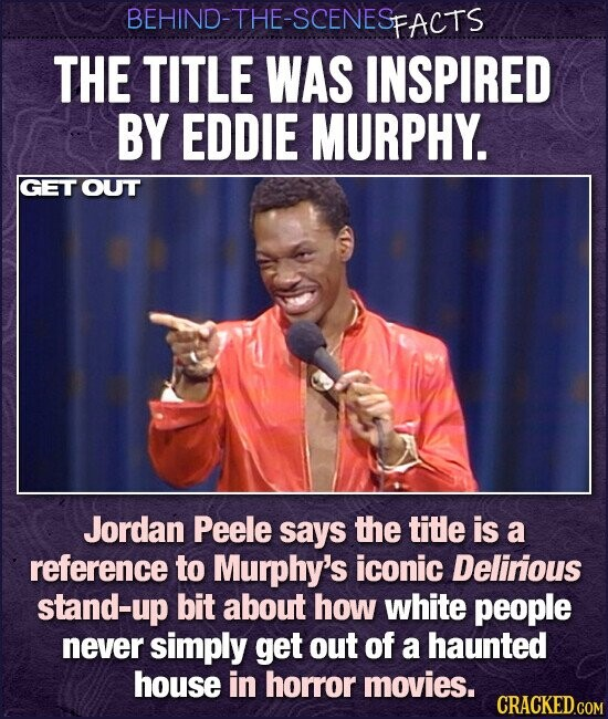 BEHIND-THE-SCENESP PFACTS THE TITLE WAS INSPIRED BY EDDIE MURPHY. GET OUT Jordan Peele says the tite is a reference to Murphy's iconic Delirious stand-up bit about how white people never simply get out of a haunted house in horror movies. CRACKED.COM