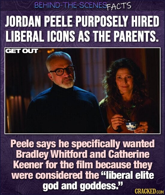 BEHIND-THE-SCENESP FACTS JORDAN PEELE PURPOSELY HIRED LIBERAL ICONS AS THE PARENTS. GET OUT Peele says he specifically wanted Bradley Whitford and Catherine Keener for the film because they were considered the liberal elite god and goddess. CRACKED.COM