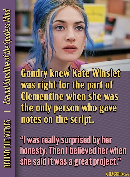Mind Spotless of the Gondry knew Kate Winslet SUNS was right for the part of Clementine when she was Ete the only person who gave notes on the script. I SCENES was really surprised by her honesty. Then I believed her when she said it was a great project.