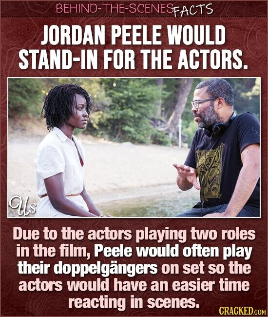 BEHIND-THE-SCENESP PFACTS JORDAN PEELE WOULD STAND-IN FOR THE ACTORS. us Due to the actors playing two roles in the film, Peele would often play their doppelgangers on set so the actors would have an easier time reacting in scenes. CRACKED.COM