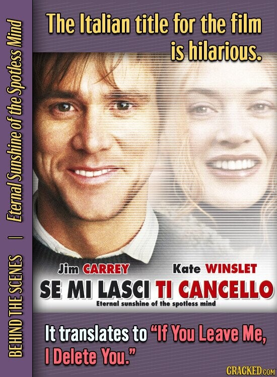 The Italian title for the film is hilarious. Mind Spotless of the Sunshine Eternal I Jim CARREY Kate WINSLET SE MI LASCI TI CANCELLO SCENES Eternal sunshine of the spotless mind D It translates to If You Leave Me, Delete You. BEH CRACKED COM