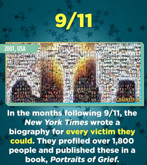 9/11 2001, USA In the months following 9/11, the New York Times wrote a biography for every victim they could. They profiled over 1,800 people and published these in a book, Portraits of Grief.