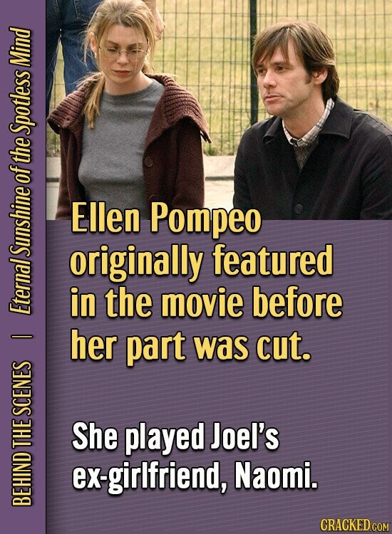 Mind Spotless of the Ellen Pompeo originally featured SUID in the movie before Eternal her D part was cut. SCENES She played Joel's THE ex-girlfriend, Naomi. BEHIND CRACKED COM