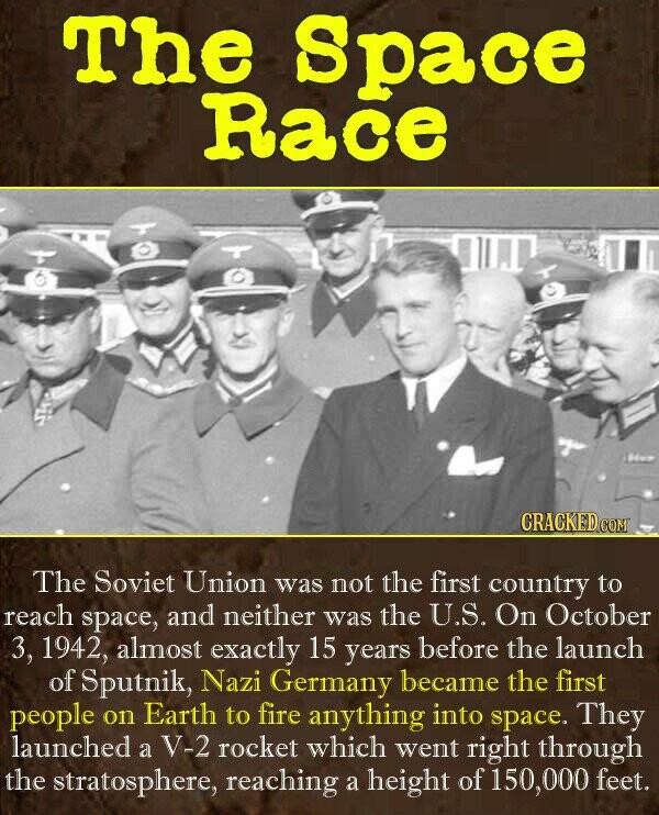 The Space Race The Soviet Union was not the first country to reach space, and neither was the U.S. On October 3, 1942, almost exactly 15 years before