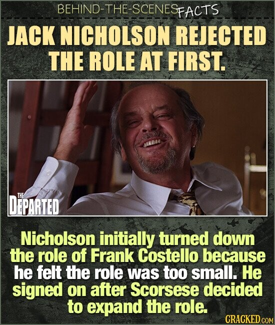 BEHIND-THE-SCENESp FACTS JACK NICHOLSON REJECTED THE ROLE AT FIRST. EBE DEPARTED THE Nicholson initially turned down the role of Frank Costello because he felt the role was too small. He signed on after Scorsese decided to expand the role.