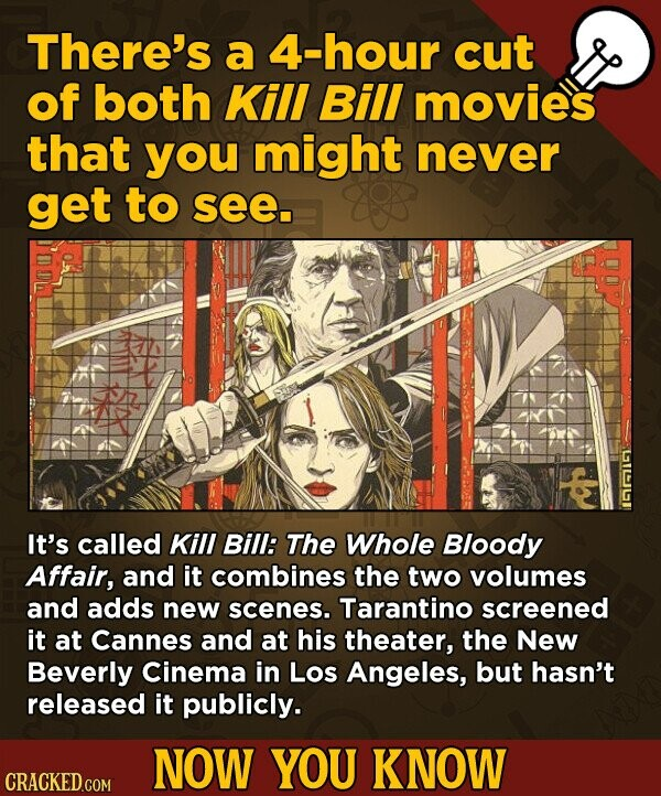 There's a 4-hour cut of both Kill Bill movies that you might never get to see. It's called Kill Bill: The Whole Bloody Affair, and it combines the two volumes and adds new scenes. Tarantino screened it at Cannes and at his theater, the New Beverly Cinema in Los Angeles,