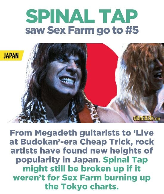 SPINAL TAP saw Sex Farm go to #5 JAPAN GRACKED.COM From Megadeth guitarists to 'Live at Budokan'-era Cheap Trick, rock artists have found new heights of popularity in Japan. Spinal Tap might still be broken up if it weren't for Sex Farm burning up the Tokyo charts.