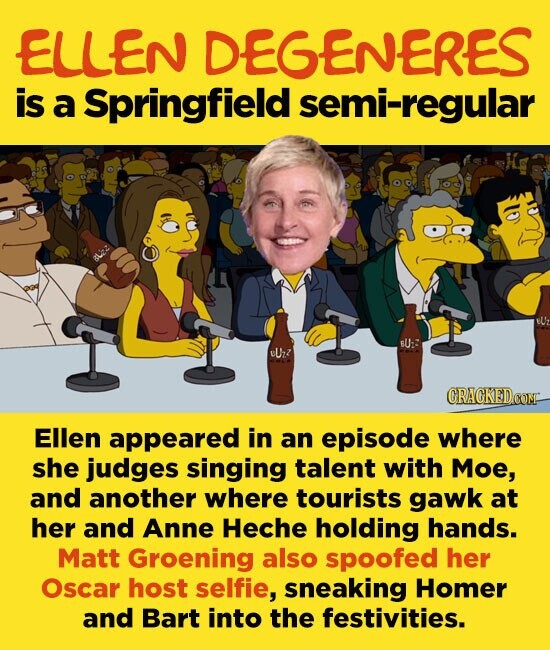 ELLEN DEGENERES is a Springfield semi-regular U:: eUrzz Ellen appeared in an episode where she judges singing talent with Moe, and another where tourists gawk at her and Anne Heche holding hands. Matt Groening also spoofed her Oscar host selfie, sneaking Homer and Bart into the festivities.