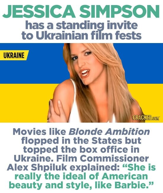 JESSICA SIMPSON has a standing invite to Ukrainian film fests UKRAINE Movies like Blonde Ambition flopped in the States but topped the box office in Ukraine. Film Commissioner Alex Shpiluk explained: 'She is really the ideal of American beauty and style, like Barbie.