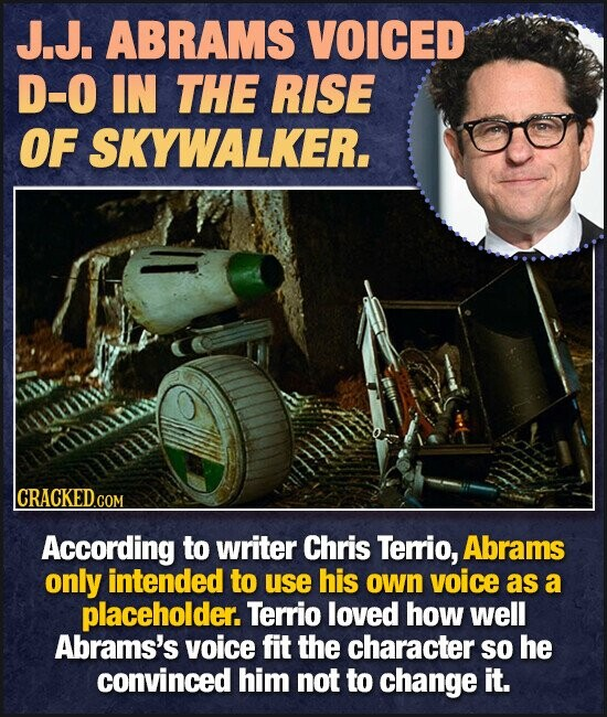 J.J. ABRAMS VOICED D-O IN THE RISE OF SKYWALKER. lCRACKEDGO COM According to writer Chris Terrio, Abrams only intended to use his own voice as a placeholder. Terrio loved how well Abrams's voice fit the character so he convinced him not to change it.