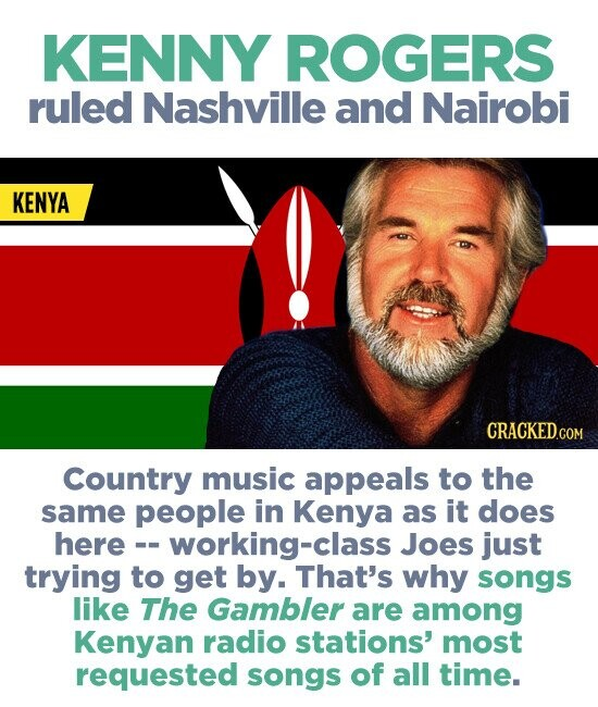 KENNY ROGERS ruled Nashville and Nairobi KENYA CRACKEDcO Country music appeals to the same people in Kenya as it does here working-clas Joes just trying to get by. That's why songs like The Gambler are among Kenyan radio stations' most requested songs of all time.