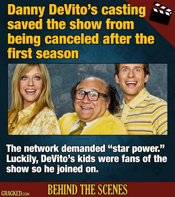 Danny DeVito's casting saved the show from being canceled after the first season The network demanded star power. Luckily, DeVito's kids were fans of the show So he joined on. BEHIND THE SCENES CRACKED COM