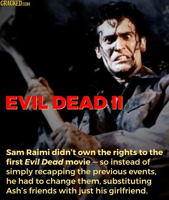 EVIL DEAD Sam Raimi didn't own the rights to the first Evil Dead movie - so instead of simply recapping the previous events, he had to change them, substituting Ash's friends with just his girlfriend.