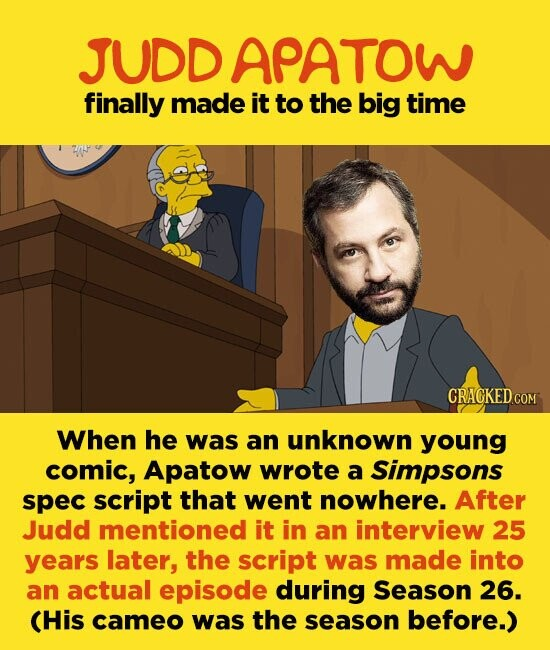 JUDD APATOW finally made it to the big time CRAGKEDCOM When he was an unknown young comic, Apatow wrote a Simpsons spec script that went nowhere. After Judd mentioned it in an interview 25 years later, the script was made into an actual episode during Season 26. (His cameo was