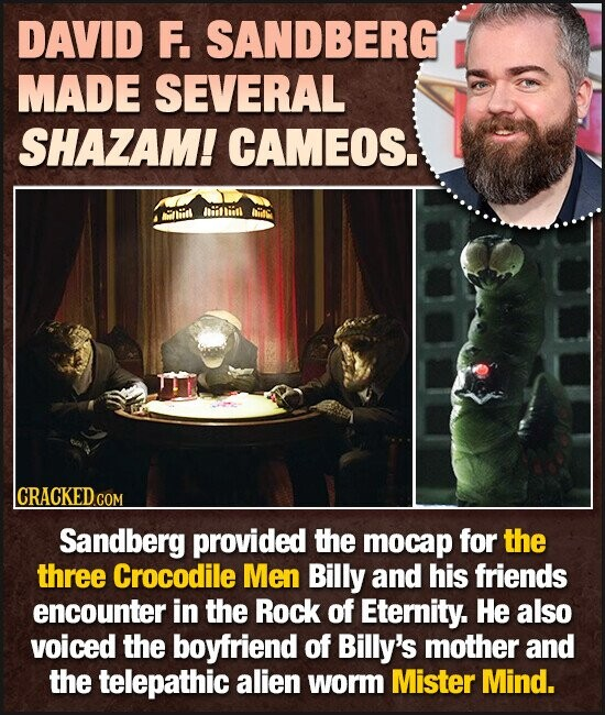 DAVID F. SANDBERGI MADE SEVERAL SHAZAM! CAMEOS. aaliidl liitin hiitg CRACKEDO COM Sandberg provided the mocap for the three Crocodile Men Billy and his friends encounter in the Rock of Eternity. He also voiced the boyfriend of Billy's mother and the telepathic alien worm Mister Mind.
