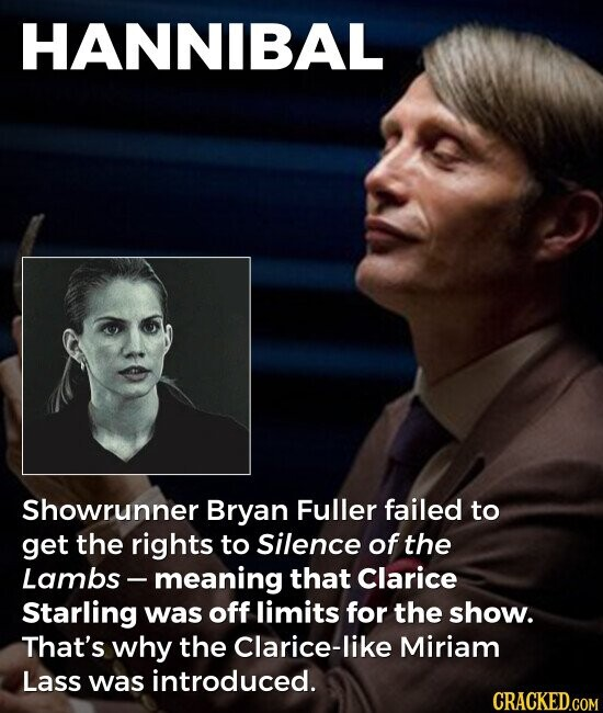 HANNIBAL Showrunner Bryan Fuller failed to get the rights to Silence of the Lambs- -meaning that Clarice Starling was off limits for the show. That's why the Clarice-like Miriam Lass was introduced.