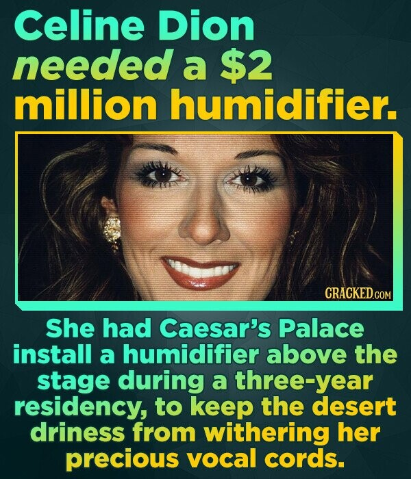Celine Dion needed a $2 million humidifier. She had Caesar's Palace install a humidifier above the stage during a three-year residency, to keep the de