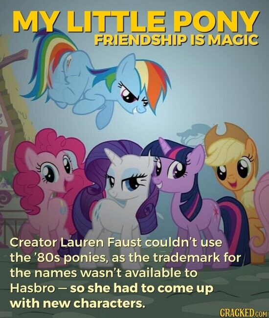 MY LITTLE PONY FRIENDSHIP IS MAGIC Creator Lauren Faust couldn't use the '80s ponies, as the trademark for the names wasn't available to Hasbro - so she had to come up with new characters.