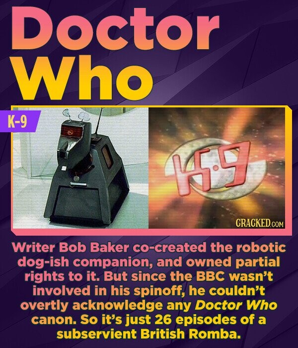 Doctor Who K-9 1.9 CRACKED.COM Writer Bob Baker co-created the robotic dog-ish companion, and owned partial rights to it. But since the BBC wasn't inv