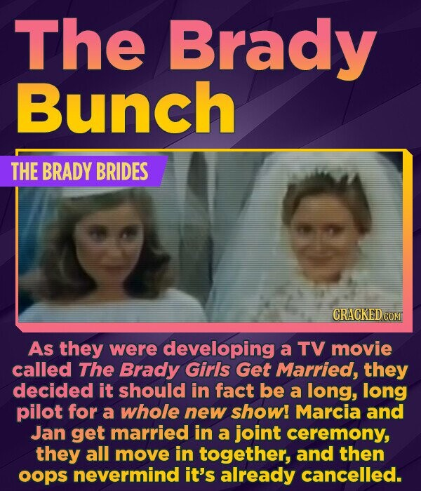 The Brady Bunch THE BRADY BRIDES CRACKED COM As they were developing a TV movie called The Brady Girls Get Married, they decided it should in fact be