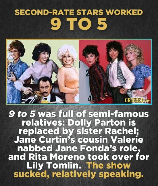 SECOND-RATE STARS WORKED 9 TO5 CRACKED.COM g to 5 was full of semi-famous relatives: Dolly Parton is replaced by sister Rachel; Jane Curtin's cousin Valerie nabbed Jane Fonda's role, and Rita Moreno took over for Lily Tomlin. The show sucked, relatively speaking.