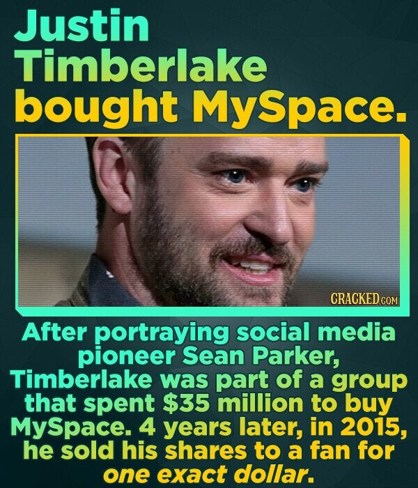Justin Timberlake bought MySpace CRACKED COM After portraying social media pioneer Sean Parker, Timberlake was part of a group that spent $35 million