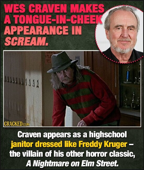 WES CRAVEN MAKES A TONGUE-IN-CHEEK APPEARANCE IN SCREAM. CRACKED cO COM Craven appears as a highschool janitor dressed like Freddy Kruger - the villain of his other horror classic, A Nightmare on Elm Street.
