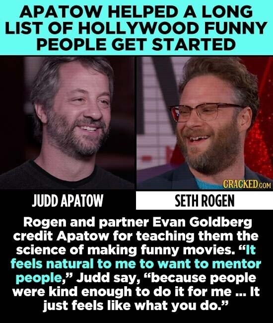 APATOW HELPED A LONG LIST OF HOLLYWOOD FUNNY PEOPLE GET STARTED JUDD APATOW SETH ROGEN Rogen and partner Evan Goldberg credit Apatow for teaching them the science of making funny movies. It feels natural to me to want to mentor people, Judd say, because people were kind enough to