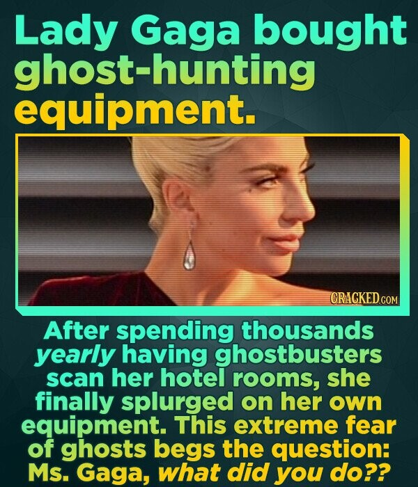 Lady Gaga bought ghost-hunting equipment. CRACKED CON After spending thousands yearly having ghostbusters scan her hotel rooms, she finally splurged o