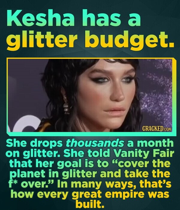 Kesha has a glitter budget. CRACKED COM She drops thousands a month on glitter. She told Vanity Fair that her goal is to cover the planet in glitter