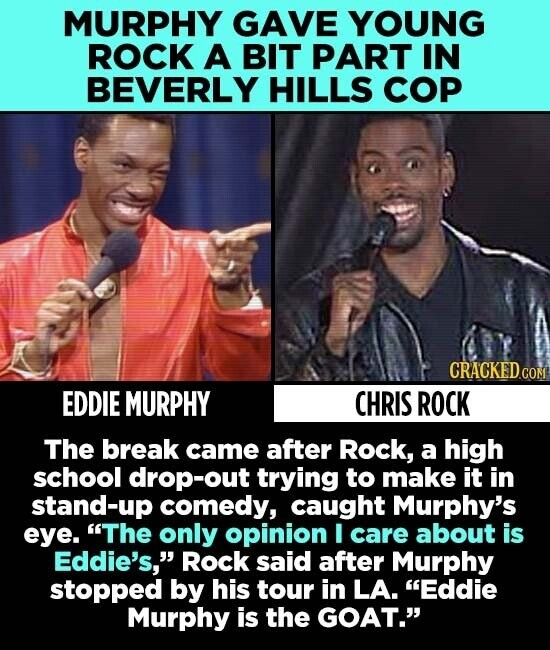 MURPHY GAVE YOUNG ROCK A BIT PART IN BEVERLY HILLS COP CRACKED.COM EDDIE MURPHY CHRIS ROCK The break came after Rock, a high school drop-out trying to make it in stand-up comedy, caught Murphy's eye. The only opinion I care about is Eddie's, Rock said after Murphy stopped by his