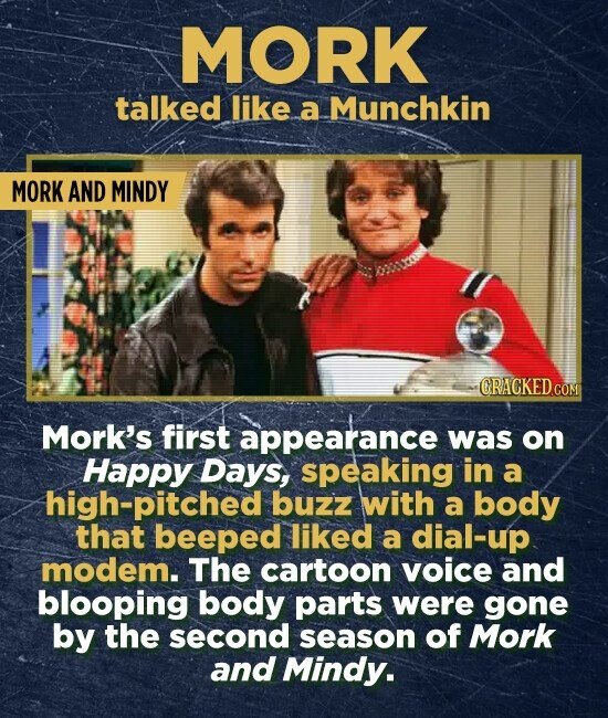 MORK talked like a Munchkin MORK AND MINDY CRACKEDC Mork's first appearance was on Happy Days, speaking in a high-pitched buzz with a body that beeped liked a dial-up modem. The cartoon voice and blooping body parts were gone by the second season of Mork and Mindy.