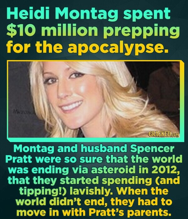 Heidi Montag spent $10 million prepping for the apocalypse Mive Montag and husband Spencer Pratt were so sure that the world was ending via asteroid i