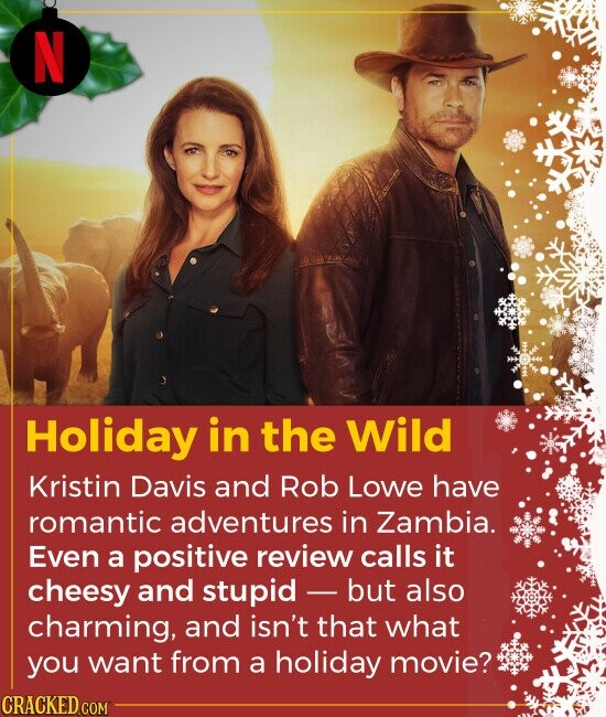 Holiday in the Wild Kristin Davis and Rob Lowe have romantic adventures in Zambia. Even a positive review calls it cheesy and stupid but also charmi