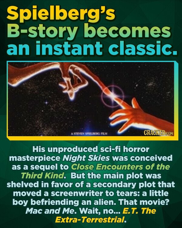 Spielberg's B-story becomes an instant classic. 015 FE His unproduced sci-fi horror masterpiece Night Skies was conceived as a sequel to Close Encounters of the Third Kind. But the main plot was shelved in favor of a secondary plot that moved a screenwriter to tears: a little boy befriending