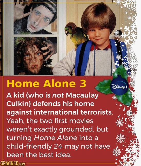 Home Alone 3 DiSNEY+ A kid (who is not Macaulay Culkin) defends his home against international terrorists. Yeah, the two first movies weren't exactly