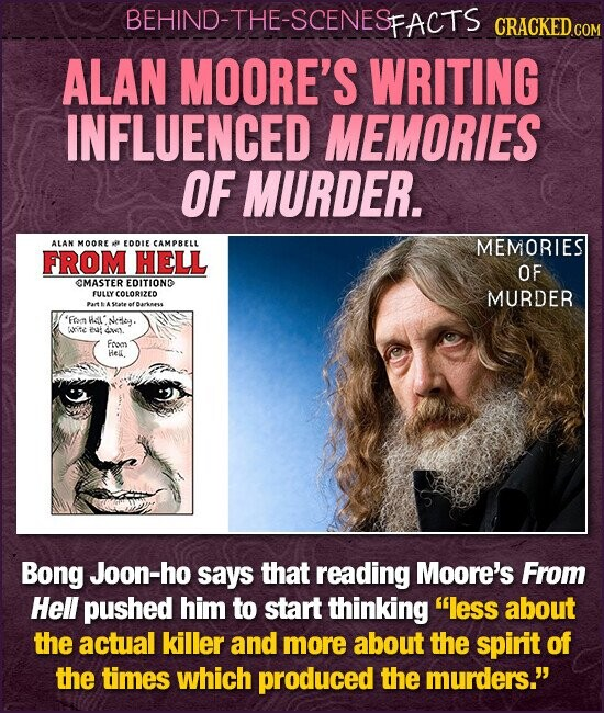 BEHIND-THE-SCENESFACTS CRACKED.cO ALAN MOORE'S WRITING INFLUENCED MEMORIES OF MURDER. ALAN MOORE EDDIE CAMPBELL MEMORIES FROM HELL OF CMASTER EDITIOND FULLY COLORIZED MURDER .At AState of Darkmess 'Fm Hau Nedey: witc evi 4w. From HeL. Bong Joon-ho says that reading Moore's From Hell pushed him to start thinking less about the actual