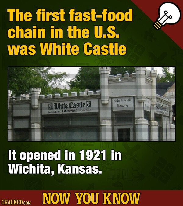 The first fast-food chain in the U.S. was White Castle The Casttr 5 Uhite Castle 5 Bleinclet HAMBURGERS atdt Fgate n2 It opened in 1921 in Wichita, Kansas. NOW YOU KNOW CRACKED COM