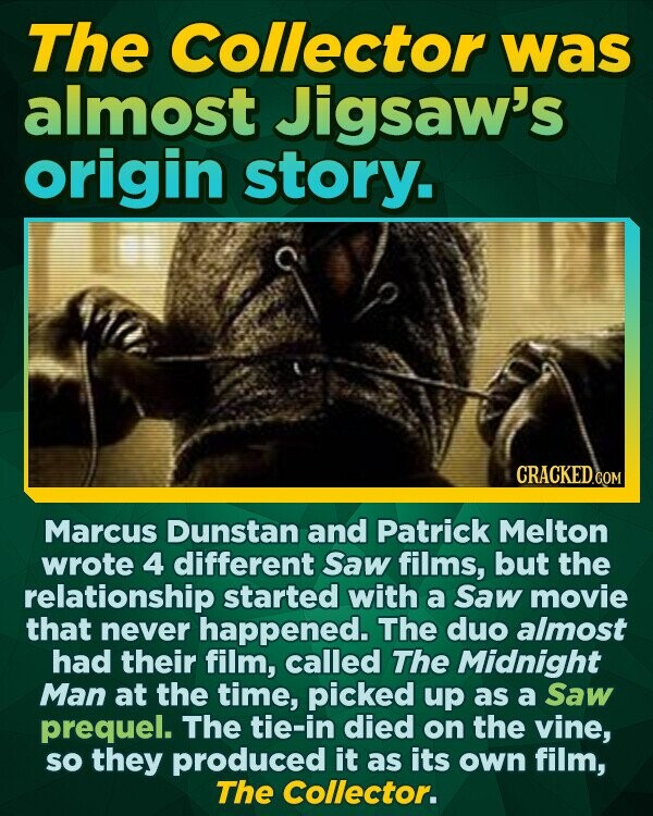 The Collector was almost Jigsaw's origin story. Marcus Dunstan and Patrick Melton wrote 4 different Saw films, but the relationship started with a Saw movie that never happened. The duo almost had their film, called The Midnight Man at the time, picked up as a Saw prequel. The tie-in