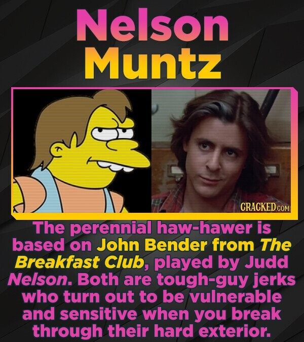 Nelson Muntz CRACKED COM The perennial haw-hawer is based on John Bender from The Breakfast Club, played by Judd Nelson. Both are tough-guy jerks who