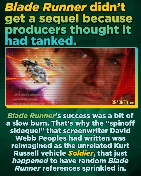 Blade Runner didn't get a sequel because producers thought it had tanked. 700 CRACKED cO Blade Runner's success was a bit of a slow burn. That's why the spinoff sidequel that screenwriter David Webb Peoples had written was reimagined as the unrelated Kurt Russell vehicle Soldier, that just happened to have