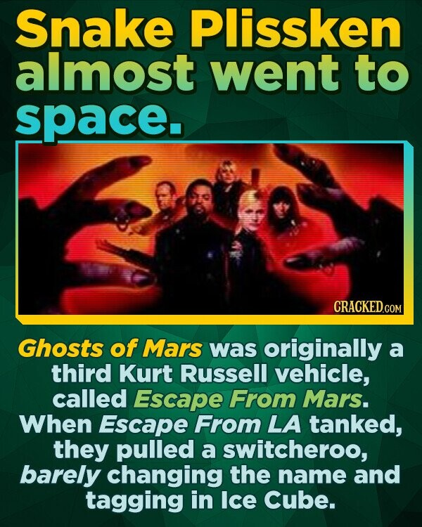 Snake Plissken almost went to space. Ghosts of Mars was originally a third Kurt Russell vehicle, called Escape From Mars. When Escape From LA tanked, they pulled a switcheroo, barely changing the name and tagging in Ice Cube.